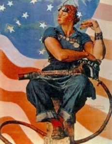 """Rosie the Riveter"" by Norman Rockwell (29 May 1943 ""Saturday Evening Post"" cover"