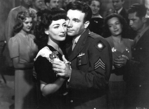 "Joan Crawford and John Garfield in a scene from ""Hollywood Canteen"""