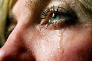 Woman crying.